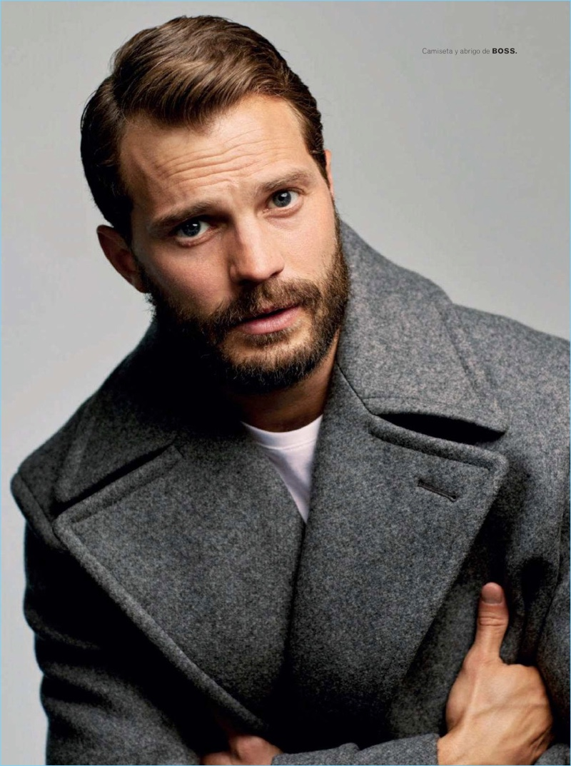 Actor Jamie Dornan sports a coat and shirt by BOSS.