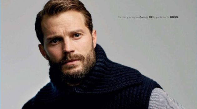Starring in a new photo shoot, Jamie Dornan wears a Canali shirt and sweater vest with BOSS trousers.