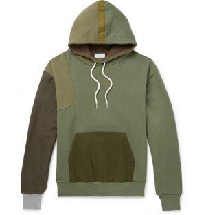 John Elliott - Distorted Patchwork Fleece-Back Cotton-Jersey Hoodie - Green