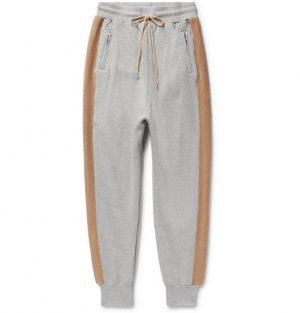 John Elliott - Striped Loopback Cotton-Jersey Sweatpants - Gray