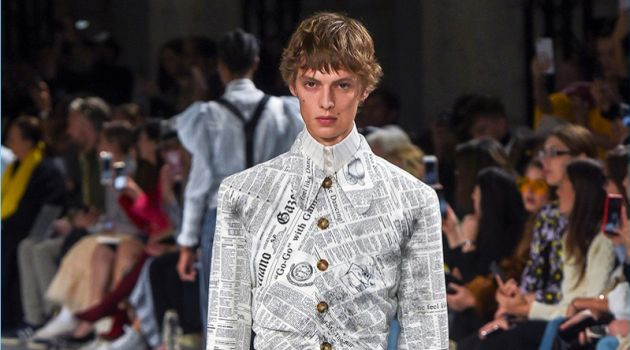John Galliano Gazette Print Makes a Comeback for Spring '19 Collection