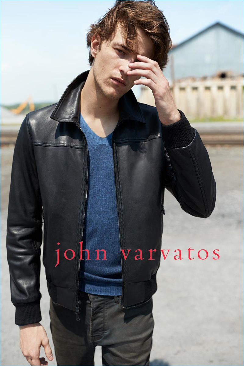 Dallas Alberti rocks a leather jacket from John Varvatos Star USA's fall-winter 2018 collection.