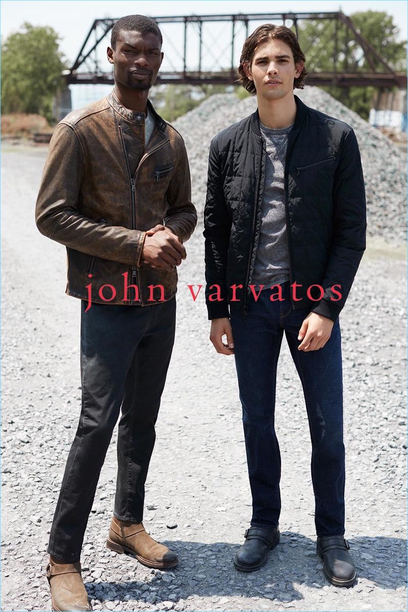 Models Gordon Winarick and Salieu Jalloh connect with John Varvatos Star USA for fall-winter 2018.
