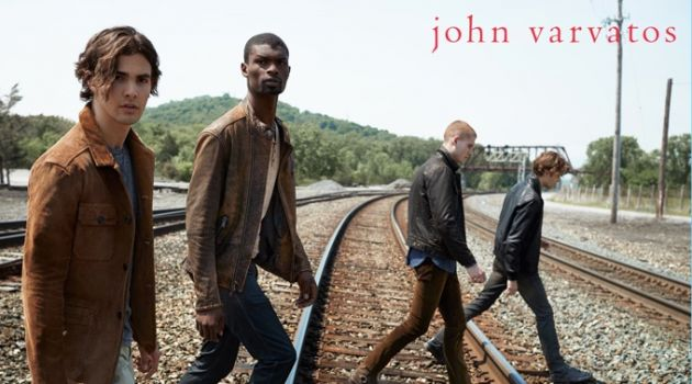 Gordon Winarick, Salieu Jalloh, Mike Russo, and Dallas Alberti wear fall fashions from John Varvatos Star USA.