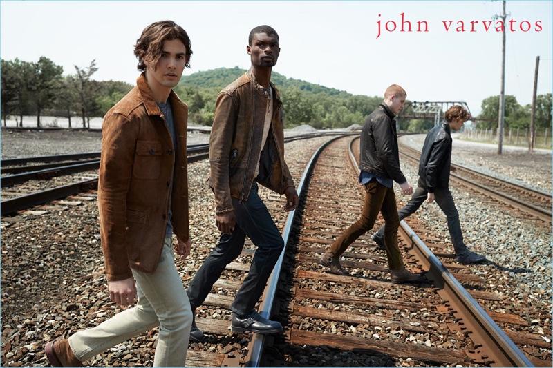 Gordon Winarick, Salieu Jalloh, Mike Russo, and Dallas Alberti wear fall fashions from John Varvatos Star USA.
