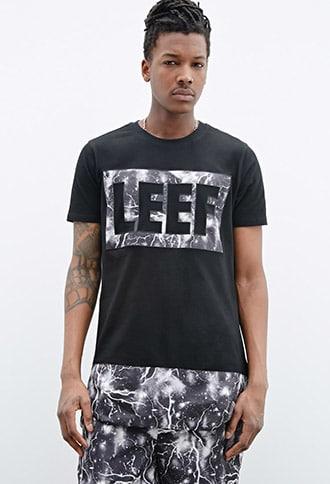LEEF PARIS Lightning Graphic Logo Tee by 21 MEN Black/grey