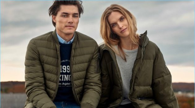 Models Isaac Weber and Mirte Maas come together for Lexington's fall-winter 2018 campaign.