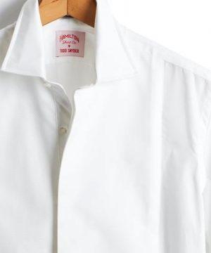 Made in the USA Hamilton + Todd Snyder White Pique Tuxedo Shirt