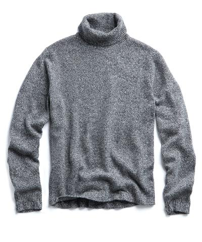 Marled Chunky Cashmere Turtleneck in Grey Heather