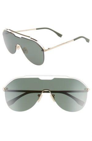 Men's Fendi 137Mm Shield Aviator Sunglasses - Gold