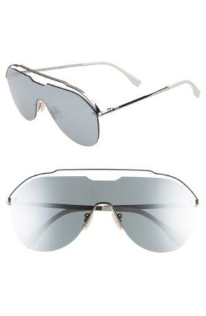 Men's Fendi 137Mm Shield Aviator Sunglasses - Ruthenium