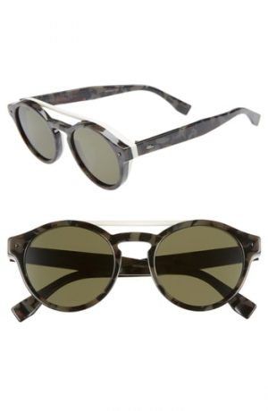 Men's Fendi 51Mm Round Sunglasses - Black Havana