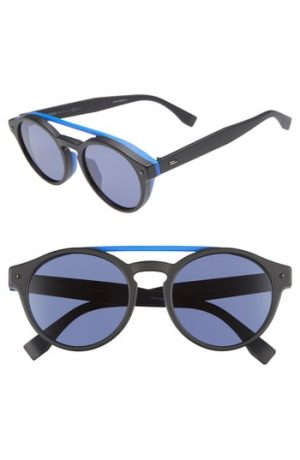 Men's Fendi 53Mm Special Fit Round Sunglasses - Black/blue