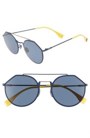 Men's Fendi 54Mm Polarized Round Sunglasses - Blue
