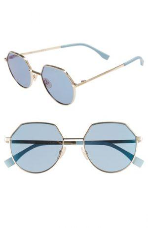Men's Fendi 54Mm Round Sunglasses - Gold