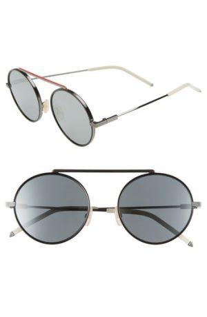 Men's Fendi 54Mm Round Sunglasses - Ruthenium/black