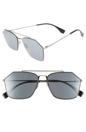 Men's Fendi 59Mm Navigator Sunglasses - Ruthenium