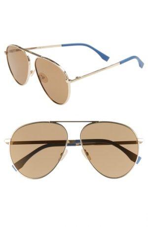 Men's Fendi 61Mm Aviator Sunglasses - Gold