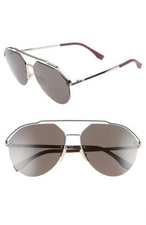 Men's Fendi 61Mm Aviator Sunglasses - Palladium