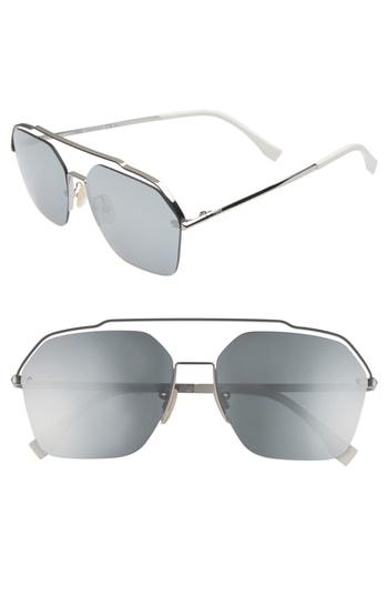 Men's Fendi 61Mm Navigator Sunglasses - Ruthenium