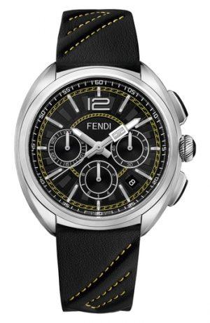 Men's Fendi Momento Chronograph Leather Strap Watch, 46Mm