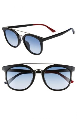 Men's Gucci 52Mm Round Sunglasses - Black/ Blue