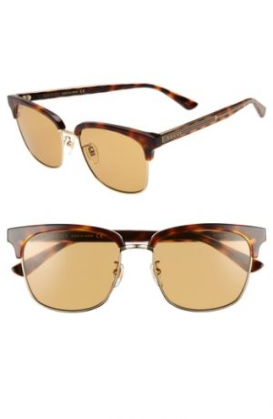 Men's Gucci 56Mm Sunglasses - Havana/ Gold
