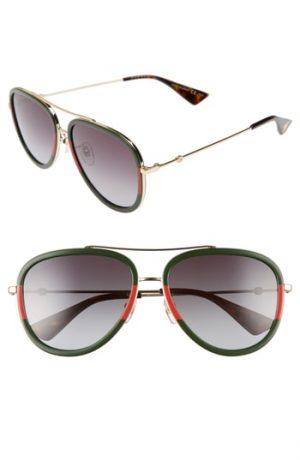 Men's Gucci 57Mm Aivator Sunglasses -