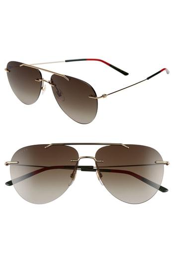 cc3a3ec66 Men's Gucci 60Mm Rimless Aviator Sunglasses – Gold | The Fashionisto