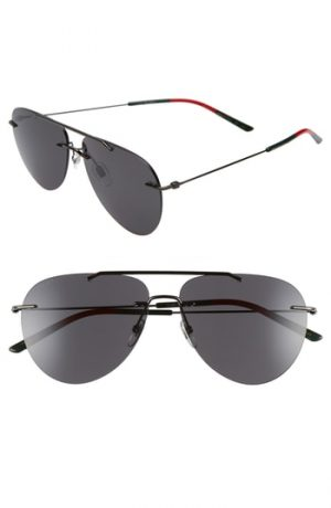 Men's Gucci 60Mm Rimless Aviator Sunglasses - Ruthenium