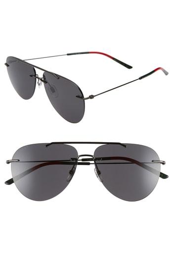 Men's Gucci 60Mm Rimless Aviator Sunglasses - Ruthenium