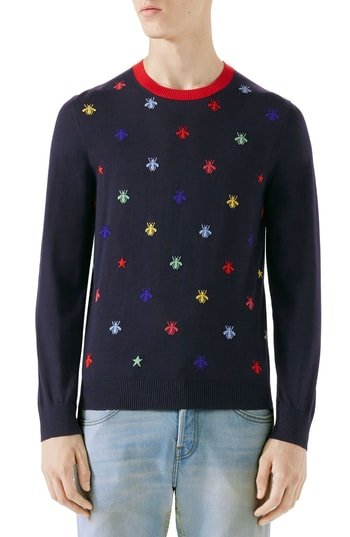 86991f15c7f4 Men s Gucci Bee Embroidered Wool Crewneck Sweater