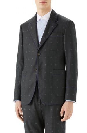 Men's Gucci Bee & Heart Print Wool Sport Coat