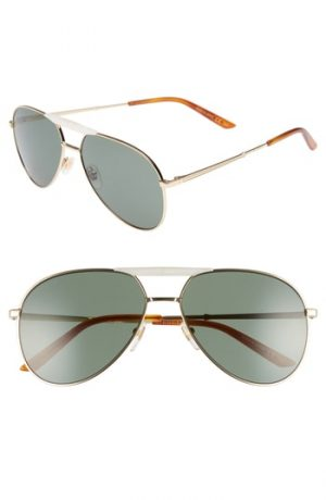 Men's Gucci Cruise 59Mm Aviator Sunglasses - Gold/ Blonde Havana
