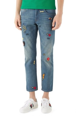Men's Gucci Embroidered Slim Fit Jeans