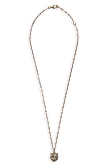Men's Gucci Feline Head Pendant Necklace
