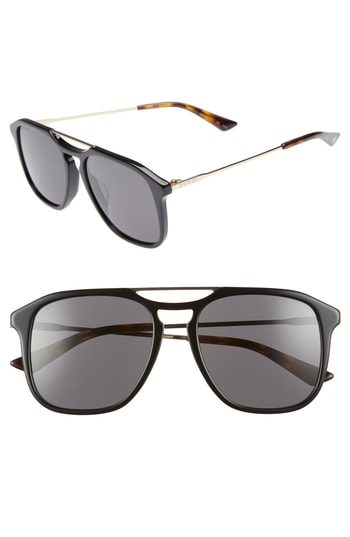Men's Gucci Light Combi 55Mm Aviator Sunglasses -