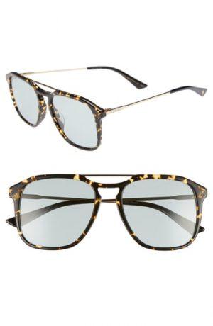 Men's Gucci Light Combi 55Mm Aviator Sunglasses - Gold/ Black