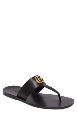 Men's Gucci Marmont Double G Leather Thong Sandal