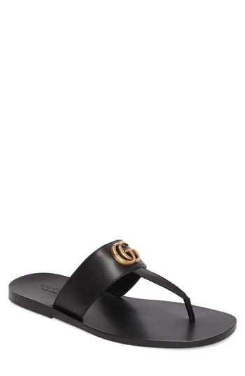 37be518fd3a2 Men s Gucci Marmont Double G Leather Thong Sandal