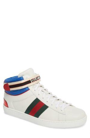 Men's Gucci New Ace Stripe High Top Sneaker, Size 8US / 7UK - White