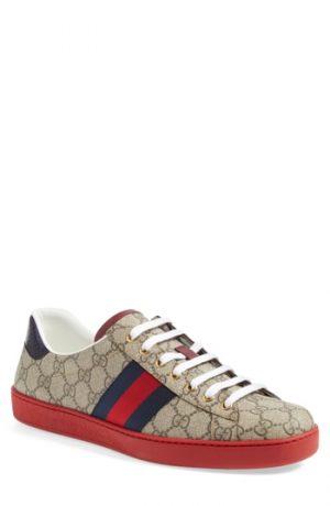 Men's Gucci New Ace Webbed Low Top Sneaker, Size 11.5US / 10.5UK - Beige