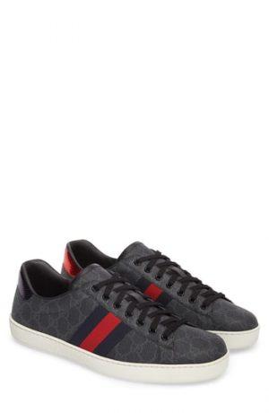 Men's Gucci New Ace Webbed Low Top Sneaker, Size 11.5US / 10.5UK - Black