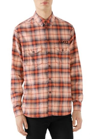 Men's Gucci Paramount Plaid Flannel Shirt, Size 46 EU - None