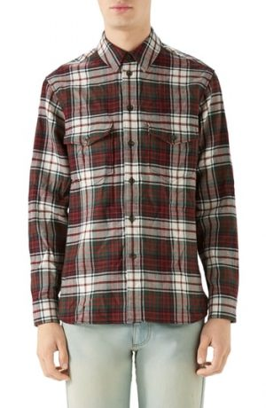 Men's Gucci Vintage Tartan Check Wool Flannel Sport Shirt