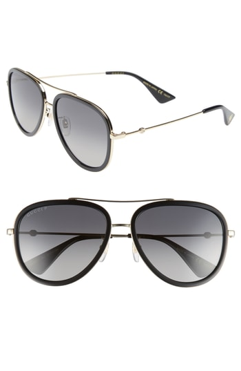 b774e55f53922 Men s Gucci Web Block Pilot 57Mm Polarized Aviator Sunglasses ...