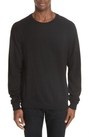 Men's John Elliott Raglan Crewneck Sweatshirt, Size X-Large - Black
