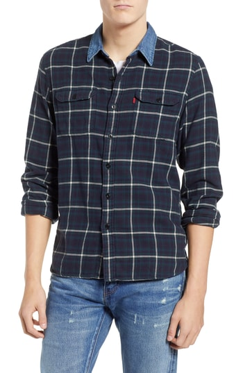Men's Levi's X Justin Timberlake Slim Fit Flannel Worker Shirt, Size Small - Blue