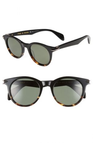 Men's Rag & Bone 49Mm Polarized Round Sunglasses - Black Havana