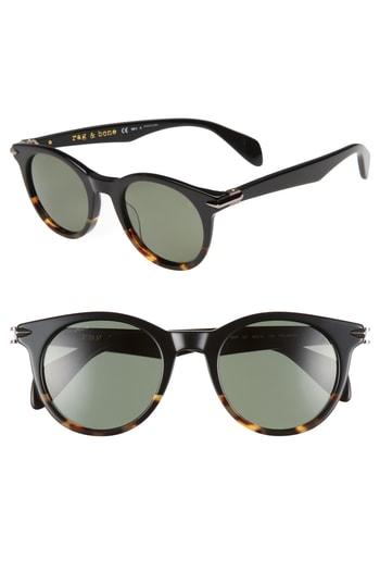 Men's Rag & Bone 49Mm Polarized Round Sunglasses - Black Havana